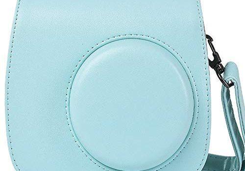 SAIKA Tasche Hülle für Fujifilm Instax Mini 9/8/8 + Sofortbildkamera, Vintage Compact Schutztasche mit Schultergurt & Tasche Eisblau