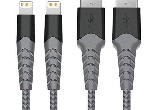Verbulan iPhone Ladekabel Lightning Kabel 2-Pack 2m Apple MFi Zertifiziert Nylon USB Apple Kabel für iPhone XS/XS Max/XR/X/ 8/8 Plus/SE/ 7/7 Plus/ 6s/ 6/6 Plus/ 5S/ 5/iPad Mini/Air/Pro Grau