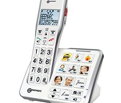 Deutsche Version – Geemarc AmpliDECT 595 schnurloses verstärktes 50 dB Schwerhörigentelefon mit Fototasten, Anrufbeantworter, Sprachansage und SOS Taste