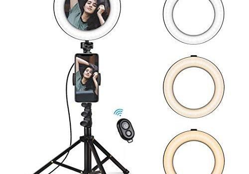 KinCam LED Ringleuchte Spiegel Ringlicht mit Stativ Fernauslöser Lampenstativ 3200-5500K Standfuß Farbtemperatur 5.8 Zoll 3 Farbe 10 Helligkeit für Dimmbare Makeup Live Stream/YouTube Video