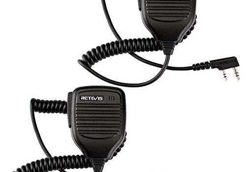 Retevis Funkgerät Lautsprecher Mikrofon Kompatibel mit Walkie Talkie RT24 RT24V RT27 RT21 RT22 RT622 RT81 RT28 RT617 RT618 RT619 Baofeng BF-88E BF-888S UV-5R Tyhbelle Kenwood 2 STK.
