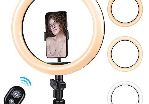10.2 Zoll Selfie Ringlicht mit Stativ – Rovtop LED Ringlicht für Handy,Tisch Ringleuchte mit Handyhalter und Fernbedienung, für Make-up,Live-Streaming,YouTube, Tiktok, Vlog und Fotografie