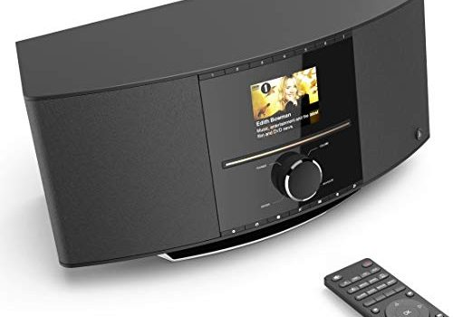 Hama Internetradio mit CD-Player & DAB+ WLAN/Digitalradio/UKW/CD/Bluetooth/USB/AUX, Spotify/mit Amazon Music, Multiroom, 40W, Farbdisplay, Steuerung per Fernbedienung/gratis App, WLAN-Radio