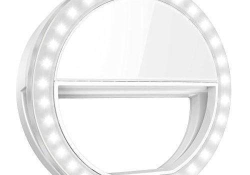 Criacr Selfie Licht, 36 LED Ringleuchte, Selfie Enhancing Licht, Selfie Ring Licht mit 3 Einstellbare Helligkeiten, USB Wiederaufladbar LED Ringlicht Handy für alle Handys
