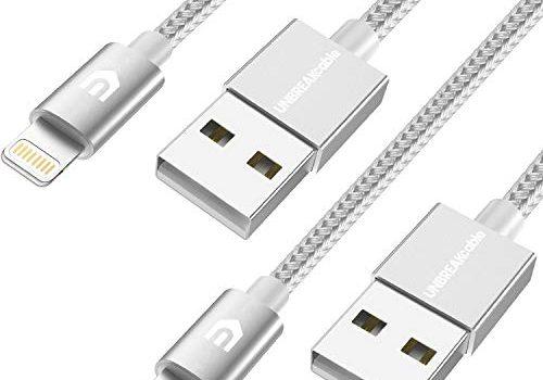 2M+2M MFi-Zertifiziert – Schnellladekabel kompatibel mit iPhone X iPhone 8, iPhone 6s iPhone 6, iPhone 7, iPhone XS/MAX/XR, iPad Air Silber-Grau – UNBREAKcable iPhone Ladekabel, Lightning Kabel