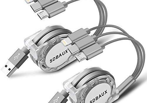 SDBAUX 3 in 1 USB Kabel 2Stück/1m,Multiple Einziehbares Ladekabel mit 8 Pin Typ C Micro USB Port Kompatibel mit iPhone Samsung Galaxy Google Pixel LG Handys TabletsNur Aufladen