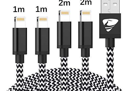 iPhone Ladekabel MFi Zertifiziert Aioneus iPhone Kabel 4 Stück 2m 2m 1m 1m Lightning Kabel Schnellladung Nylon USB Ladekabel Kompatibel mit iPhone X XS XR 11 10 8 8 Plus 7 7 Plus 6 6S Plus 5S 5 ipad