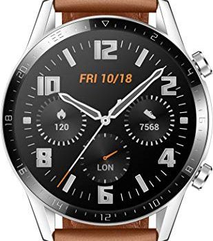 HUAWEI Watch GT 2 46 mm – mit Herzfrequenz-Messung, Musik Wiedergabe & Bluetooth Telefonie – 5ATM wasserdicht + 5EUR Amazon Gutschein, Pebble Brown