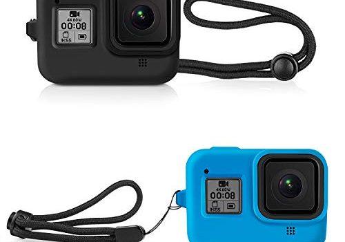 Deyard Silikon-Gummi-Schutzhülle für GoPro Hero 8 Black Action Kamera, Gehäuse Schutzhülle für GoPro Hero 8 Schwarz Schwarz und Blau
