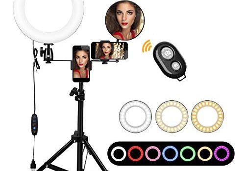 LED Ringlicht Ringleuchte Set Dimmbar 10 Zoll LED-Ringlicht mit Lichtstand & Phonehalterung & Fernbedienung für YouTube Self-Porträt der Videoaufnahme, Portraitfotografie, Live-übertragung