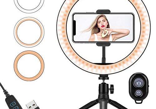 PEYOU Ringlicht, 10″/ 25cm Ringleuchte mit Stativ, mit Bluetooth-Empfänger, Handyhalterung, 3 Beleuchtungsmodi und 10 Einstellbarer Helligkeit für YouTube Vine Self-Porträt der Videoaufnahme