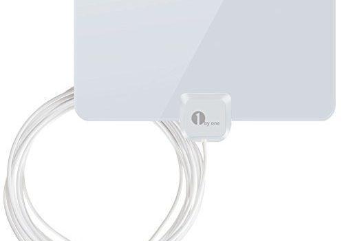 glänzend weiß – 1byone DVB-T/DVB-T2 Zimmerantenne für kompatible Fernseher, Papierdünne Antenne 0,7mm für VHF/UHF/FM, Hauchdünn für besten Empfang, Antenne mit 4m High Performance Kabel
