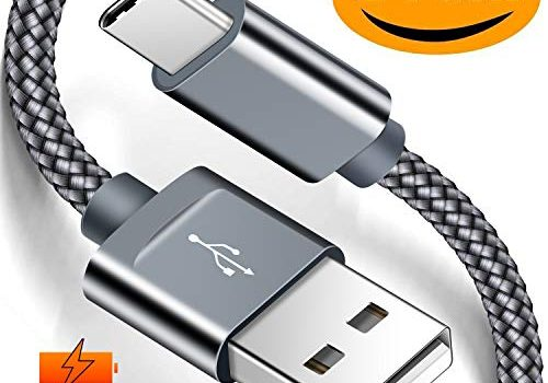 Snowkids USB C Kabel 2 Stück 2m Nylon USB Typ C Schnellladekabel USB C Datenkabel für Samsung S10 S9 S8 Plus Note 9 8, LG V30 V20 G5, Huawei P9 P10 P20 und andere USB C Geräte -Grau