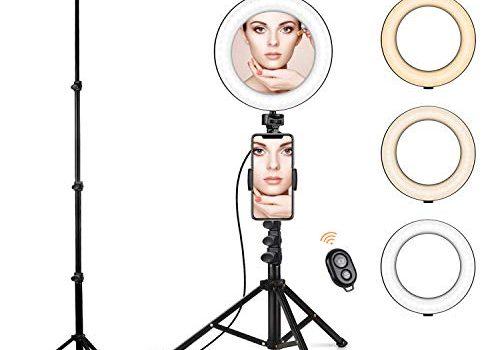 BenqBot LED Ring licht Stativ mit Spiegel, 8.2″ Dimmbar 3200K-5500K Ringleuchte mit Handy Halter und Fernauslöser, 3 Lichtmodi 11 Helligkeitsstufen für Youtuber, Make-up, Self-Porträt, live Stream