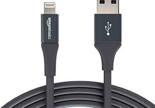 Grau – AmazonBasics – Lightning-auf-USB-A-Kabel, Premium-Kollektion, 3 m, 2er-Pack
